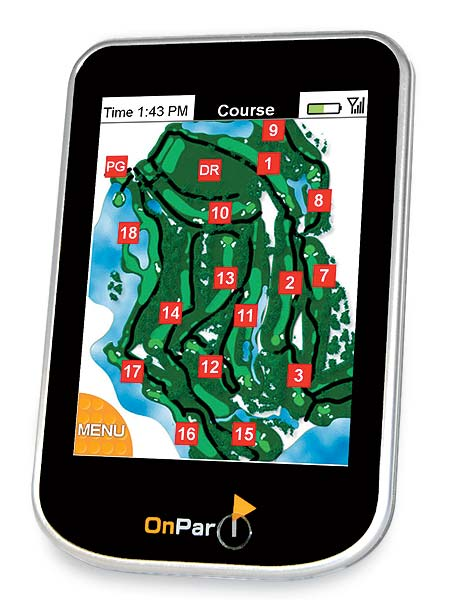 "OnPar                           $479; onpargps.com                           The Upside: Looks like an iPhone and                           works like an iPhone, with a simple-to operate                           touch-screen display. Along                           with many of the usual features, there's                           a virtual ""golf bag"" that allows you to                           track how far you hit each club.                                                      Something else you should know:                           It's not yet Mac compatible, but they're                           working on it. A touch screen, in some                           people's hands, can lead to slower play."