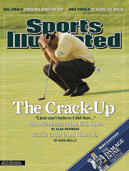 "Afterward Mickelson, who made the SI cover, was blunt. ""I just can't believe that I did that. I am such an idiot. I can't believe I couldn't par the last hole. It really stings."""
