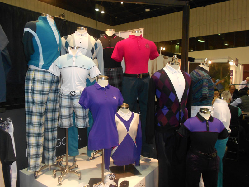 A cluster of colorful mannequins were on display at Ian Poulter's apparel booth, IJP Design.