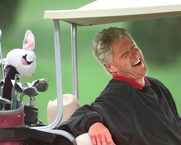 """What he's done to rescue the Hope from oblivion counts for a lot, and the guy was an unapologetic golf nut before, during and after his presidency."" —Morfit. Photo: President Clinton enjoys a round at Farm Neck Golf Club in Oak Bluffs, Mass., on Sept. 3, 1997."