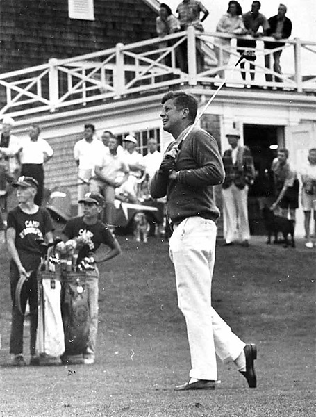 """JFK is probably underrated as a golfing president because, at the time, he kept it secret because playing golf wasn't a good look for a Democrat. It reeked too much of exclusive big money, country club Republicans."" —Van Sickle. Photo: President Kennedy plays in Hyannisport, Mass., on Aug. 2, 1963, less than four months before he was assassinated."