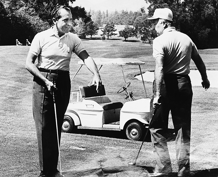 """[Redacted]."" — Sports Illustrated senior writer Cameron Morfit. Photo: President Nixon plays golf with Attorney General John Mitchell at Los Angeles Country Club on Aug. 23, 1969. Mitchell later served nine months in prison for his role in the Watergate break-in."