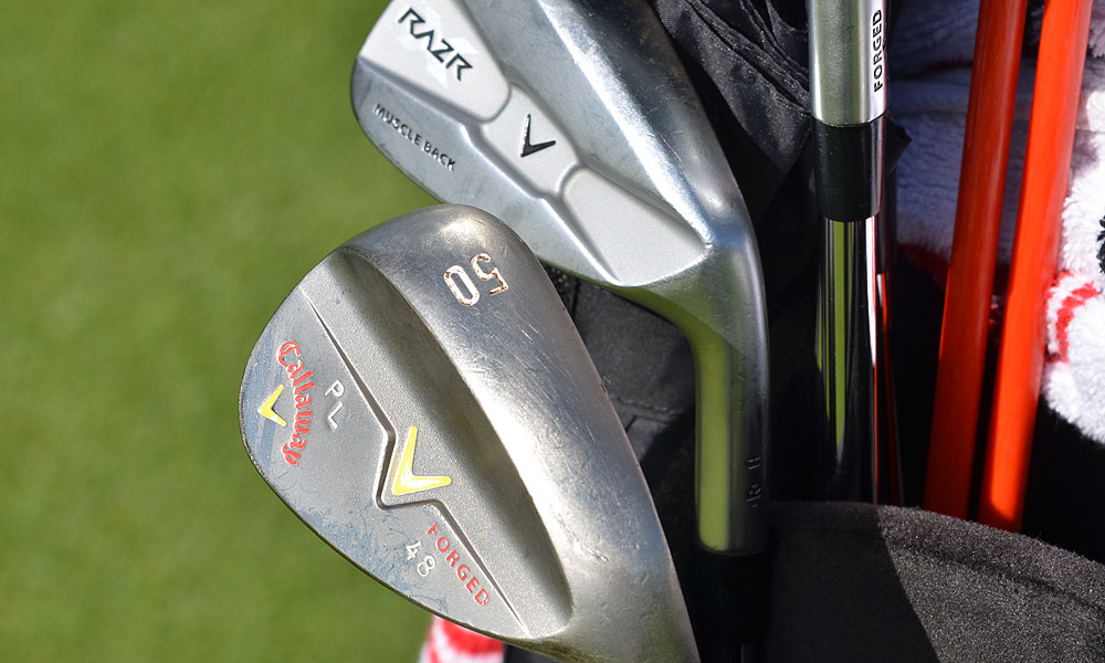 Pablo Larrazabal uses a set of Callaway RAZR X Muscleback irons and customized Callaway Forged wedges that show his Spanish pride.