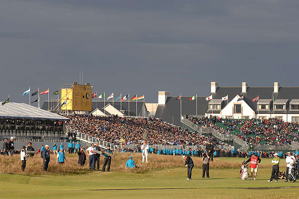 """I love this scene behind the players at the 17th at Carnoustie. There was great light on Harrington as he played, and the fans in the background helped make this photo especially interesting."""