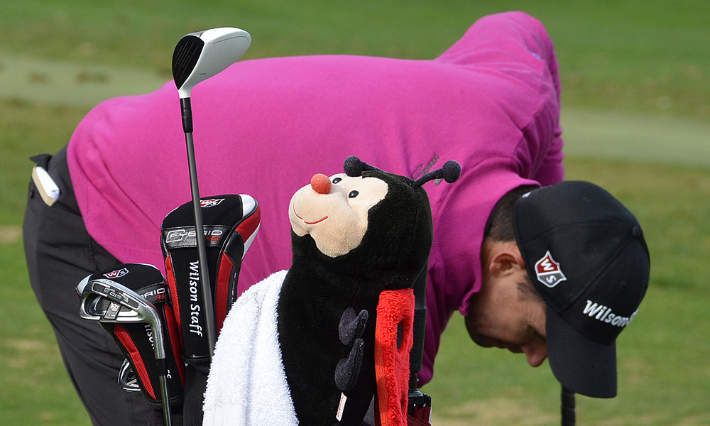 Padraig Harrington practiced with his driver while a ladybug headcover sat on top of his bag. Harrington is playing Wilson's Ci9 irons and a TaylorMade RocketBallz 3-wood.