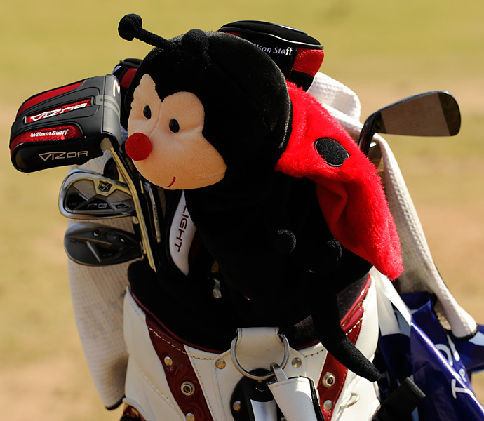 Past Open champ Padraig Harrington is relying on Wilson Staff FG Tour V2 irons as well as a nifty headcover.