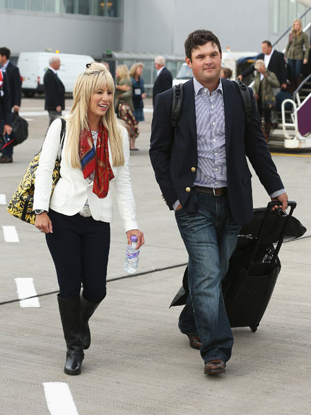 Patrick Reed, with his wife Justine, is playing in his first Ryder Cup.