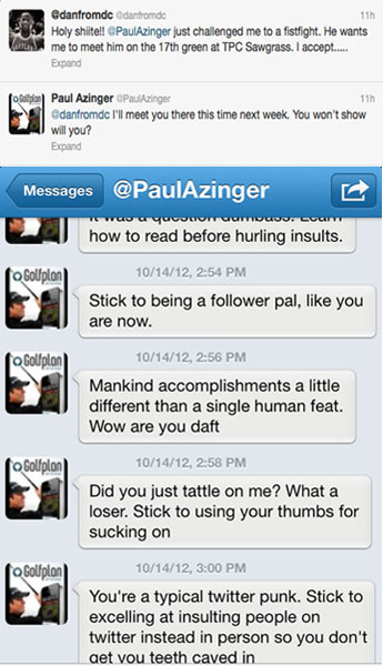 Before a recent change on Twitter, the direct message was a way for private communication between two mutual followers or a one-way stream from the followee to the follower. Azinger used the function to electronically accost poor @DanfromDC in October of 2012.