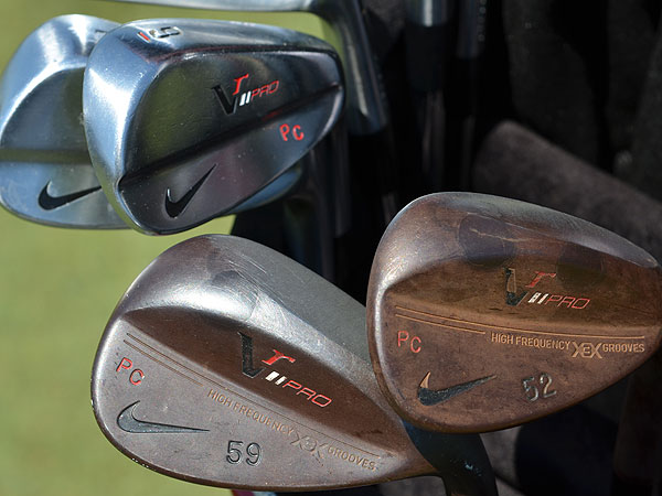 Paul Casey uses Nike's VR Pro Combo irons, but his prototype VR Pro Forged wedges have a unique, rust-colored finish and sole grind.