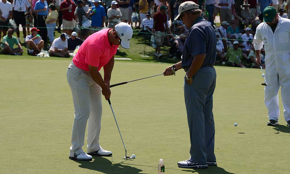 Paul Casey honed his stroke on the practice green with the help of his swing coach, Peter Kostis. He uses a Nike Method 001 putter.