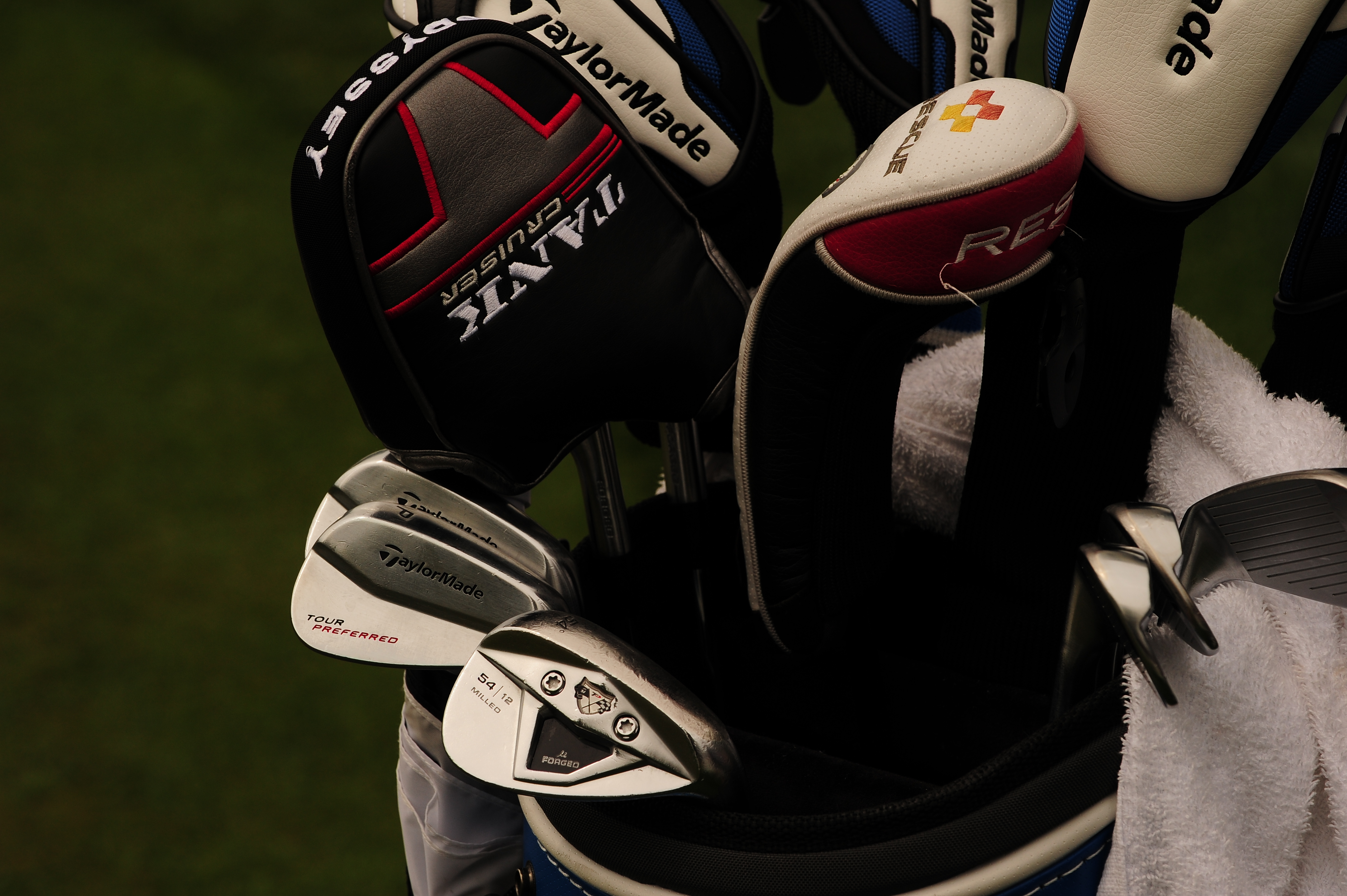 TaylorMade player Paul Goydos carries Tour Preferred MB irons, an old TP wedge and a collection of SLDR woods.