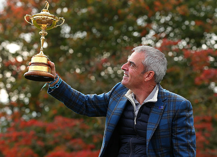 Team Captain Paul McGinley poses with the Samuel Ryder Trophy. He led his team to a 16.5-11.5 victory over Tom Watson's Americans.