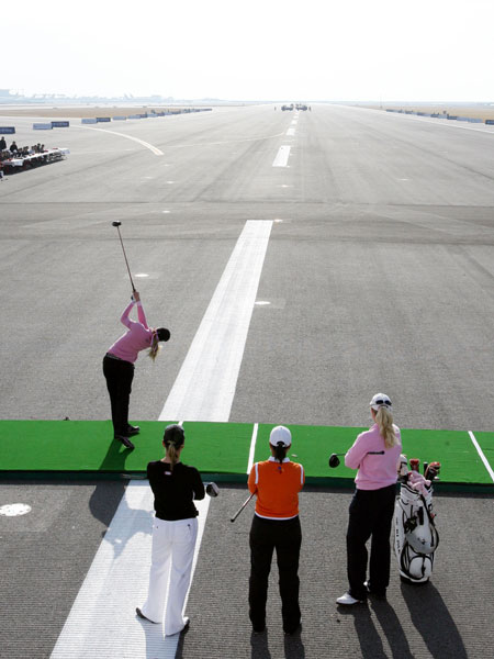 Sorenstam, Seri Park and Brittany Lincicome watched Creamer hit a drive down a runway during a long-drive competition at Seoul's Incheon International Airport.