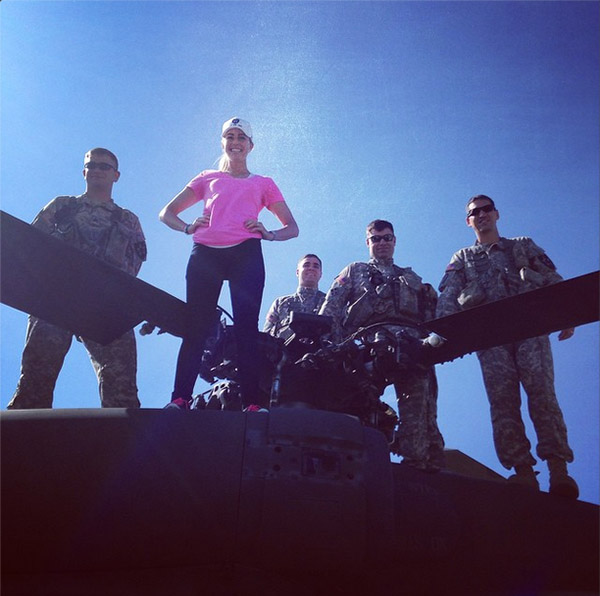 "Paula Creamer spent some quality time with troops in Korea. Paula: ""Our amazing flight crew today #PCvisits2ID"""