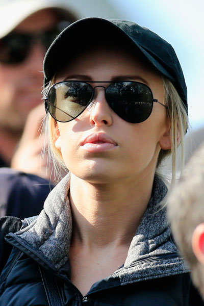 Paulina Gretzky watches fiance Dustin Johnson play the Par 3 Contest.