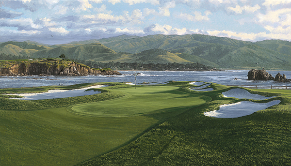 Linda Hartough has been painting golf landscapes like the image shown here, the 17th hole at Pebble Beach Golf Links, since she was commissioned by Augusta National to capture the club's 13th hole in 1984. She has produced commemorative U.S. Open paintings every year since 1990.