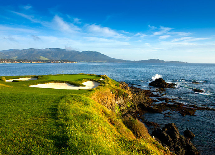 Players get ready to tee off on the eighth hole during the second round of the AT&T Pebble Beach National Pro-Am.