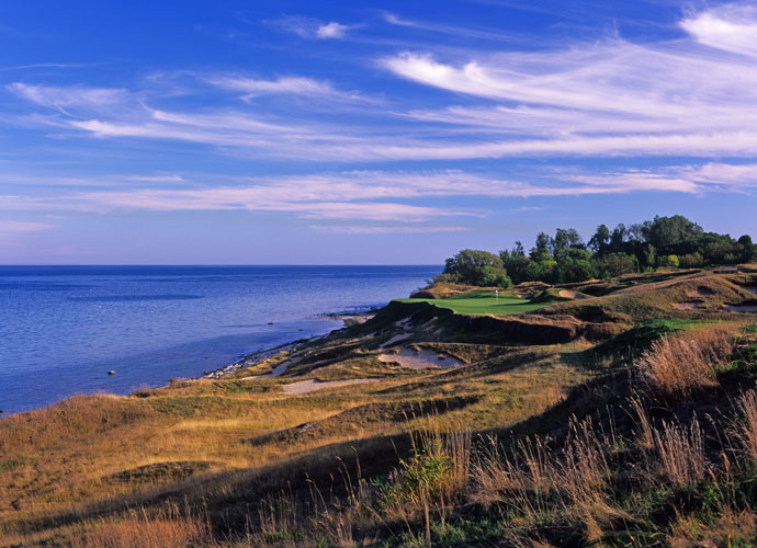 "The Phrase ""A Pete Dye Design""                             Gulp. You know you are in for forced carries, tricky landing areas and slopes in the 150s on a Dye design. Consider the 17th hole at Whistling Straits. Hit your shot left of the green and you'll be in one of the course's hundreds of bunkers, 20 feet below the surface of the green. Jail."