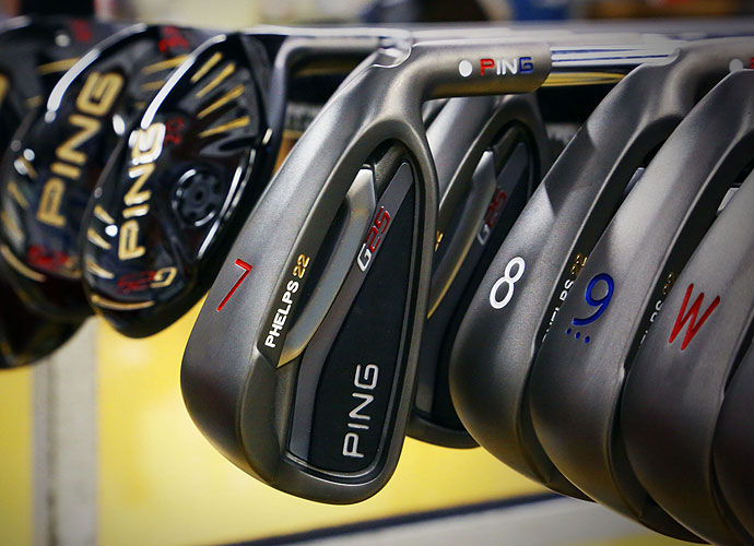 His Ping G25 irons are stamped with his name and 22, the total number of Olympic medals he won.