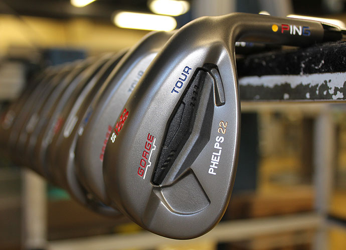 Phelps's Ping Tour wedges with Gorge Grooves are also stamped with his name and 22.