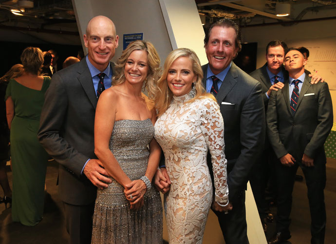 (From left) Jim and Tabitha Furyk join Amy and Phil Mickelson at the gala. That's Jimmy Walker and Rickie Fowler at rear.
