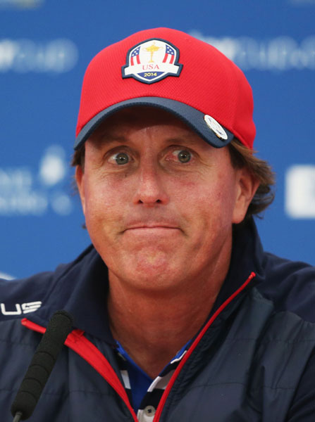 "Discussing Team USA's cohesiveness at his Wednesday press conference, Phil Mickelson jabbed at McIlroy, quipping that ""Well, not only are we able to play together, we also don't litigate against each other and that's a real plus, I feel, heading into this week."""