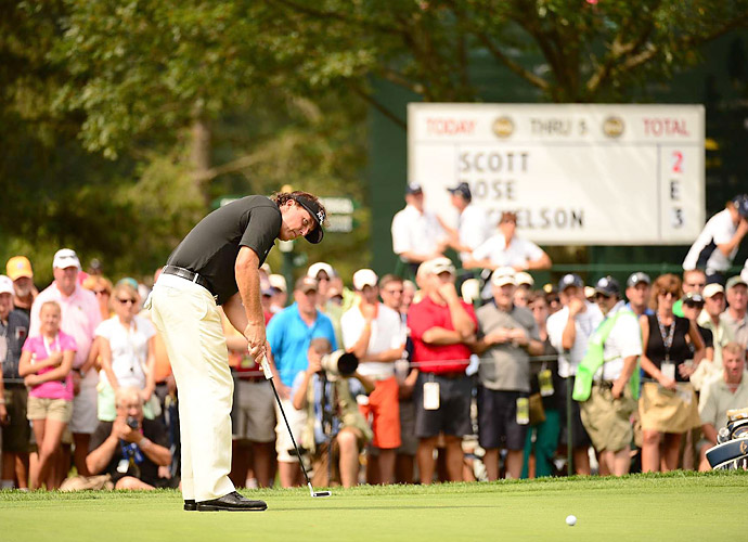 Phil Mickelson struggled early on, making bogey at the third and double bogey at the fourth.