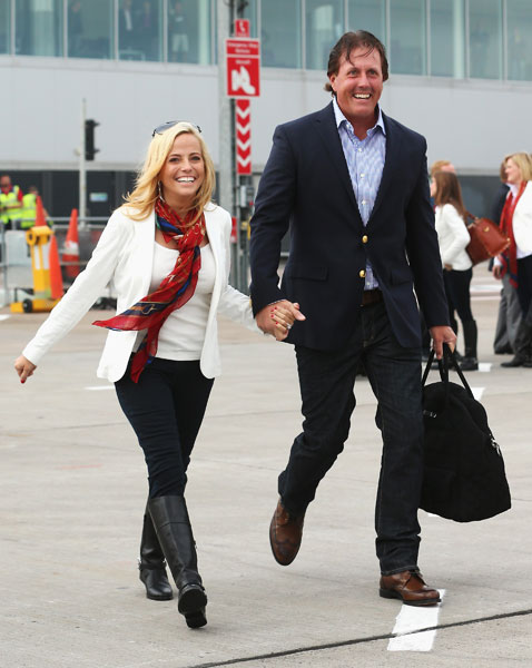 Phil Mickelson was accompanied by his wife, Amy, as they arrived for the 2014 Ryder Cup. This is Mickelson's 10th Ryder Cup.