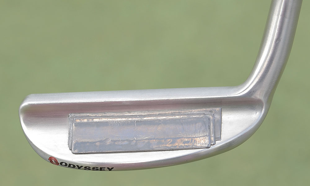 Phil Mickelson's Odyssey White Hot XG Blade prototype putter has lots of weight added to the back flange.