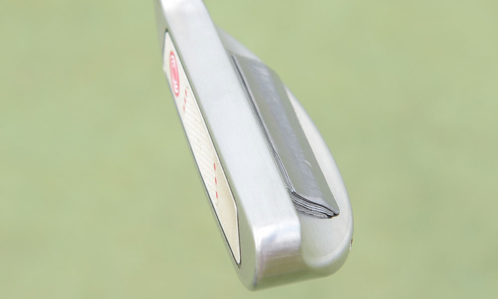 Phil Mickelson loads his prototype Odyssey White Hot XG Blade putter with plenty of lead tape.