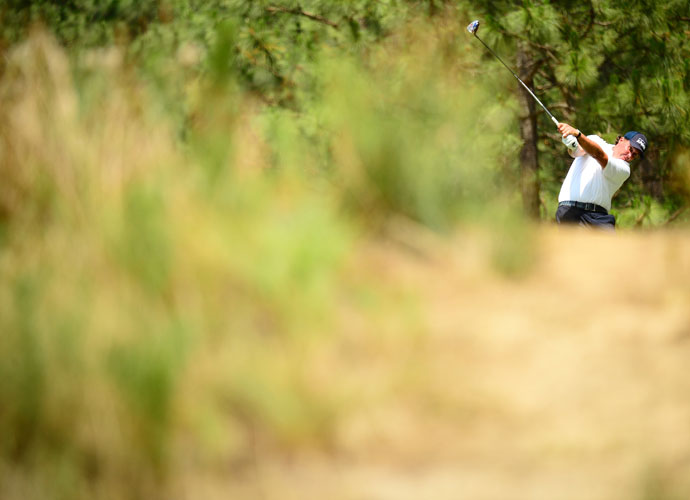"""Mickelson shot a 4-over 38 on the back 9 after a 1-under 35 on the front. """"I feel like I'm playing well enough to win the U.S. Open, except for putting,"""" he said. """"It's kind of the same story. After I've 3-putted three or four times, I kind of lose my focus on the other stuff. It really affects my ability to concentrate and my momentum and energy … I'm just not making them."""""""