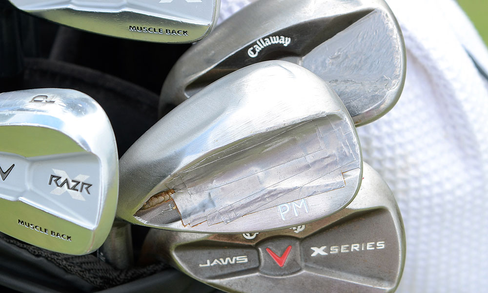 There is also plenty of lead tape on Mickelson's Callaway X Series JAWS lob wedge.