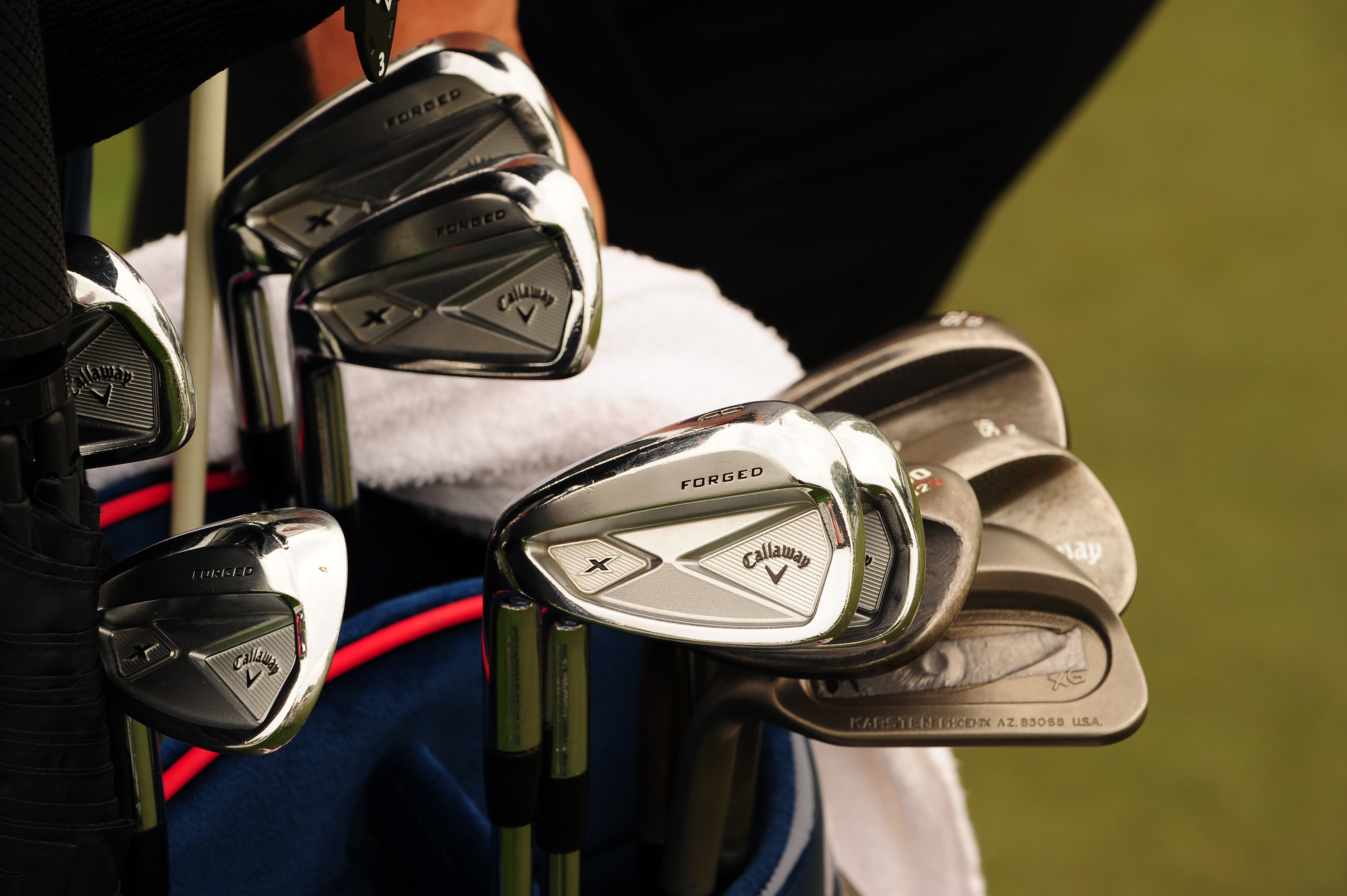 Callaway player Phil Mickelson is playing X Forged irons, Mack Daddy2 wedges and surprisingly a PING Eye2 XG wedge.