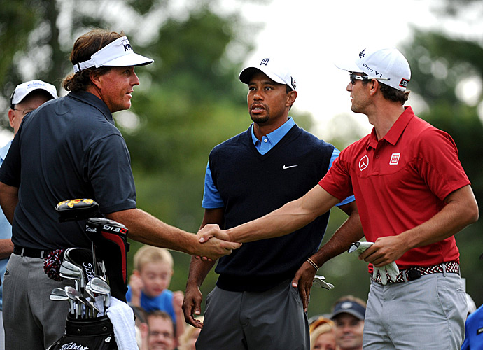 Mickelson played alongside Tiger Woods and Adam Scott in the first round.