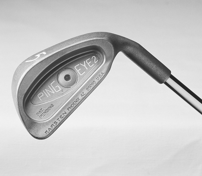 1982: PING EYE2 IRONS                           Ping releases its Ping Eye2 irons. Two years later, the company adds revolutionary square grooves to increase spin. Additional offset and perimeter weighting help make the user-friendly club among the most popular of all time.