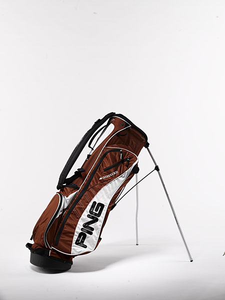 "Ping 4 Under ($135): Dual-sliding straps can be adjusted while you're walking and the double-bend ""Mantis"" legs retract smoothly, so it's easy to pick up and put down the bag. Composed of lightweight, durable nylon, the 4 Under (Ping's lightest stand bag) features a four-way mesh top with two individual dividers."