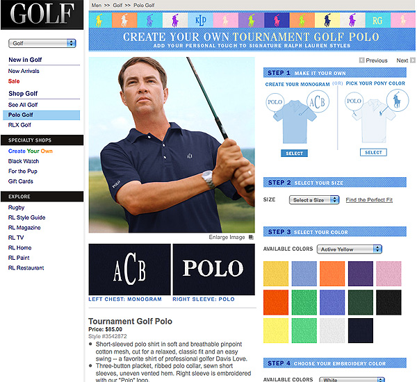 from Polo Ralph Lauren can be made in one of 15 colors, with different monograms, logo placements and shirt styles available for $85.                           More information at poloralphlauren.com