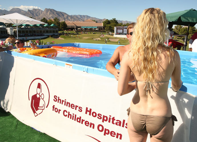 TPC Summerlin in Las Vegas had spectator swimming pools at the finishing holes for the Shriners Hospitals for Children Open on Sunday, and fans took advantage.