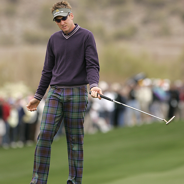 Never one to shy away from a fashion statement, England's Ian Poulter had a good showing, advancing to the third round before falling to South Africa's Trevor Immelman.