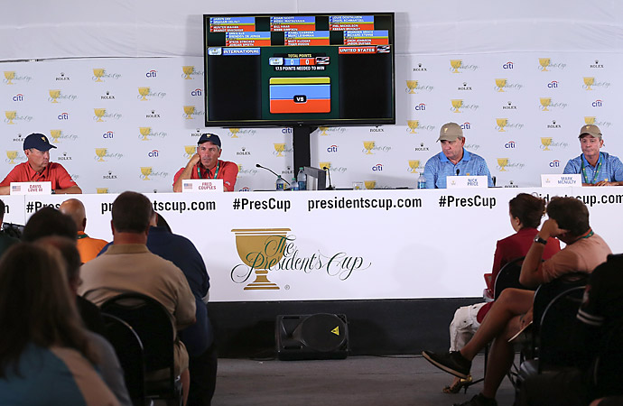Captains Fred Couples and Nick Price announced the matchups for Thursday four-ball in a press conference on Wednesday.