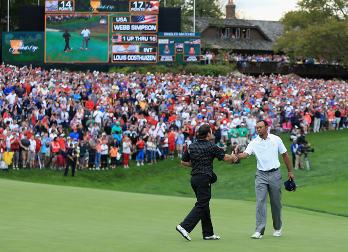 Tiger Woods defeated Richard Sterne 1-up to secure the 18th point and fifth consecutive Presidents Cup from the United States.