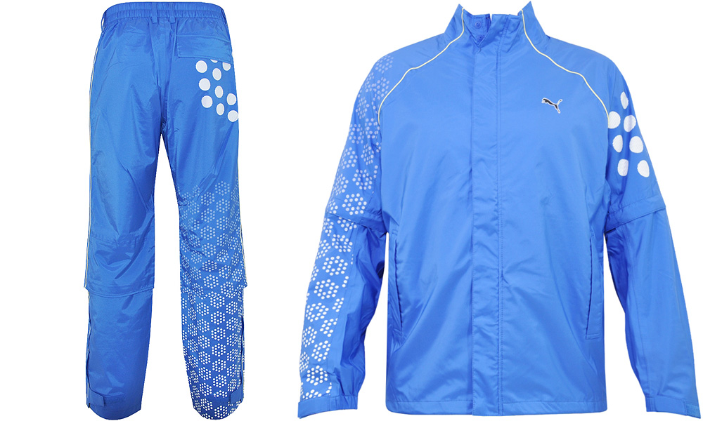 This is the Puma 18-Hole Waterproof Suit ($200). The sleeves are detachable. Rickie Fowler wore this at Royal St. George's and in practice rounds at Royal Lytham and St. Annes.