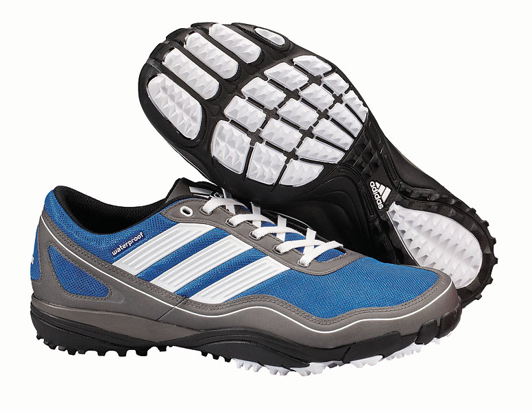 "The Adidas Puremotion golf shoe is a highly technical shoe and very lightweight (11.5 oz.), with a curvy, anatomical shape that closely follows the natural lines of the foot. Instead of spikes, it has traction ""pods"" to keep golfers from performing the watusi in the rain."