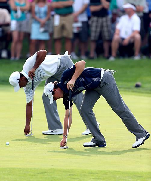 Woods and McIlroy were in lockstep for much of the fall season. They played rounds together at the Barclays, the BMW Championship (pictured) and the Tour Championship.