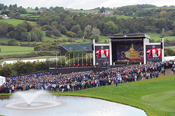 The opening ceremony for the 2010 Ryder Cup was held Thursday evening outdoors at Celtic Manor.