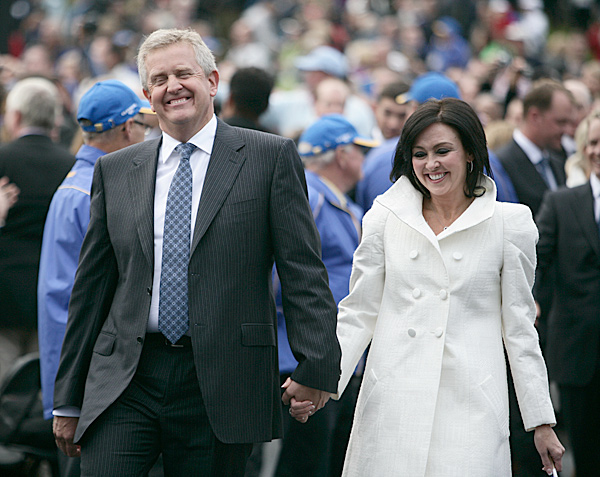 Captain Colin Montgomerie and his wife, Gaynor.