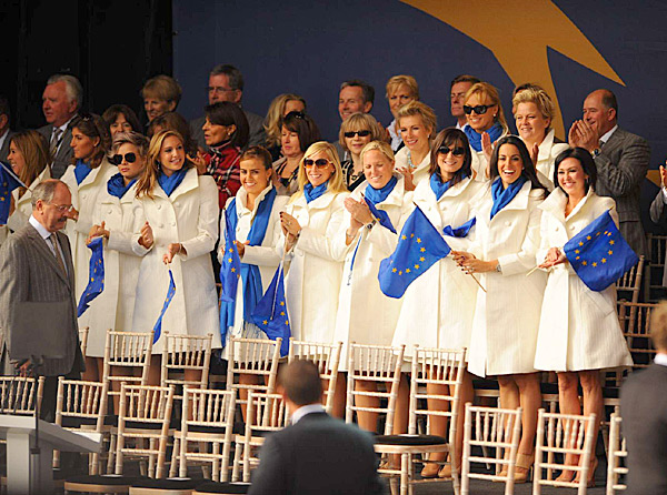 Team Europe's wives and girlfriends.