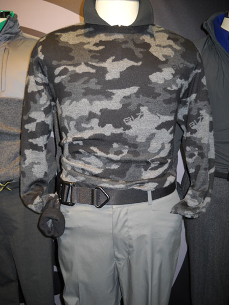 RLX Camouflage sweater                           Suitable for dropping into a terrorist compound at night, this camouflage sweater is actually for golf, from the RLX collection by Ralph Lauren. I'd like to see Luke Donald in it on Tour. It's a striking piece, whether on course or off.