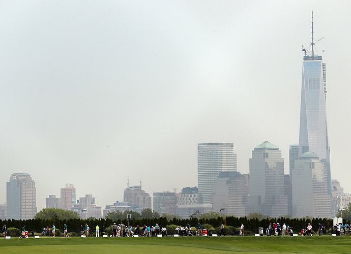 Players practiced on the range with the lower Manhattan skyline as a backdrop, including the almost-completed World Trade Center tower.