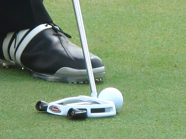 Retief Goosen  practiced Wednesday using a prototype TaylorMade Ghost Spider putter.